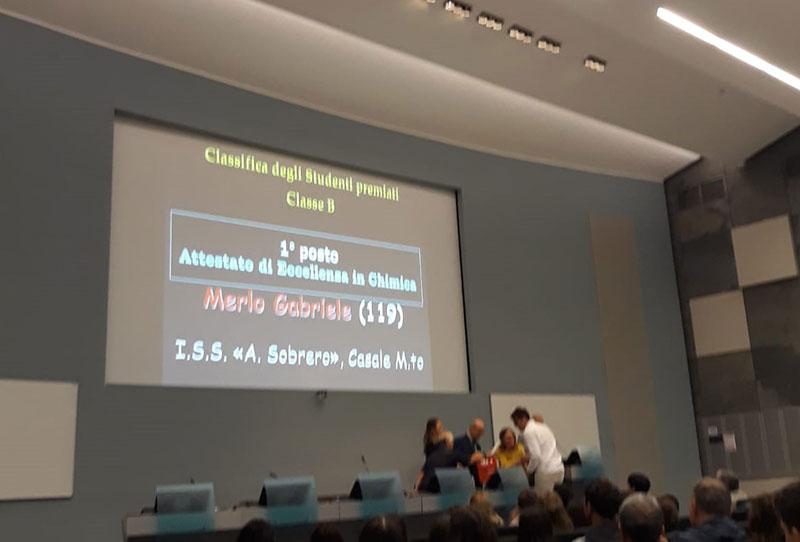 Allievi del Sobrero premiati ai giochi della chimica 2019